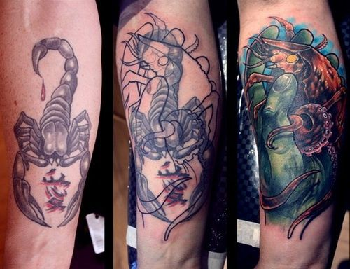 Cool mens arm tattoo cover up from scorpion to octopus for Cool cover up tattoos