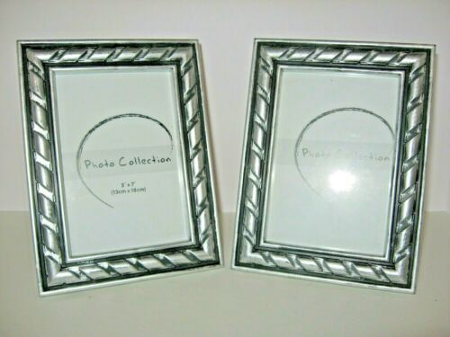2 Each Photo Collections 5 X 7 Picture Frames Silver Black Wood W Glass In 2020 Frame Picture Frames 16x20 Picture Frame