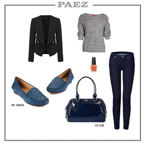 Outfit con mocasines azules  Paez colección Otoño- Invierno 2014