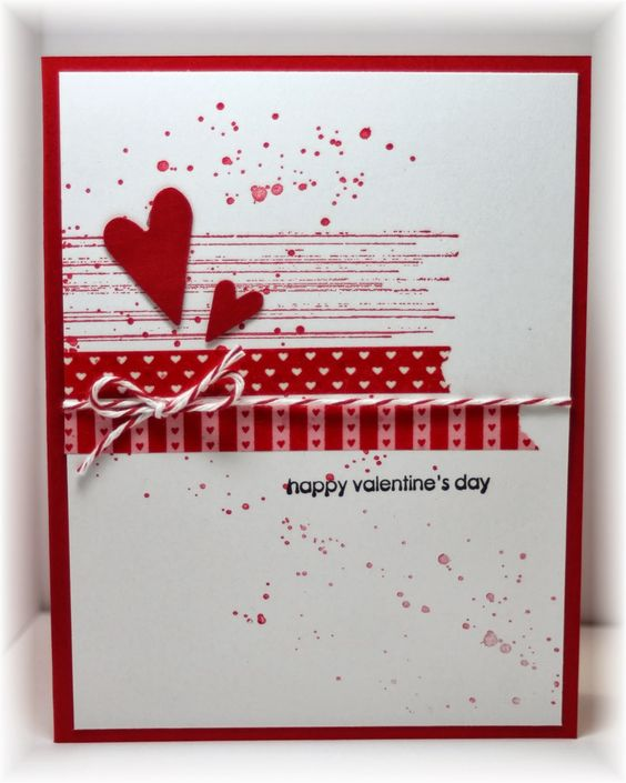 A little grunge (from SU), some washi tape, punched hearts and twine. Colors are real red and white: