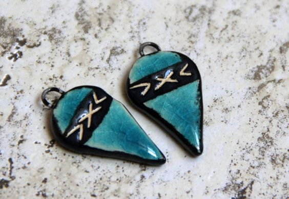 Blue and black carved ceramic earring beads by HappyFishThings