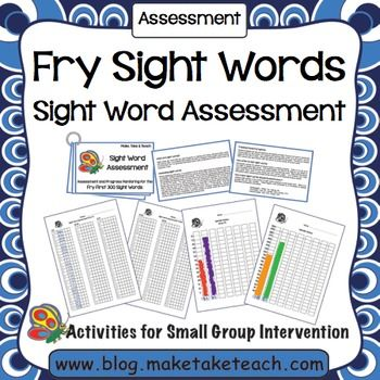 Free Fry Sight Word assessment and progress monitoring charts.  Available for the Dolch Sight Word list too!