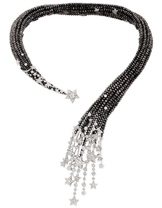 """Chanel """"Nuit de Diamants"""" necklace in 18-karat white gold set with 319 brilliant-cut diamonds for a total weight of 11.9 carats 7 round-cut diamonds for a total weight of 2.9 carats and facetted black-diamond beads for a total weight of 453.3 carats."""