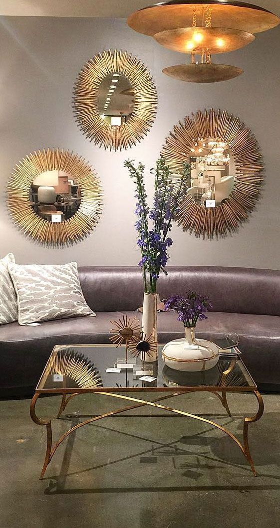 Starburst Mirrors Oval And Round Shapes Of The Mirrors Look Great Alone Or In Multiples Wall Dec Sunburst Wall Decor Starburst Wall Decor Living Room Mirrors
