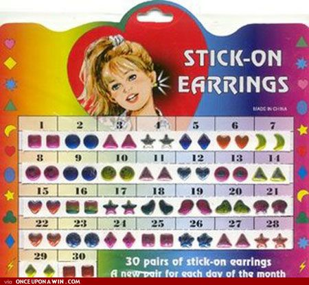 Earrings for every day of the month!   31 Party Favors You Expected At '90s Birthday Parties