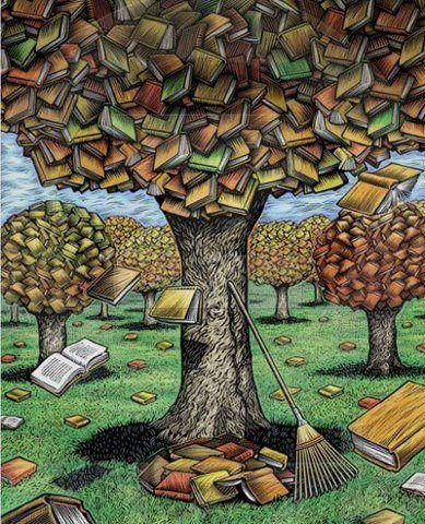 Library autumn: tree-books / Biblioteca otoñal: árbol-libros (ilustración de Tim Foley):