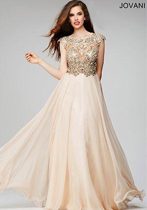 Champagne Chiffon Flowy Prom Dress 22037 - homecoming / prom ...