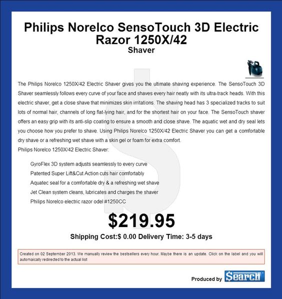 Philips Norelco SensoTouch 3D Electric Razor 1250X/42 The Philips Norelco 1250X/42 Electric Shaver gives you the ultimate shaving experience. Th #electricshavers