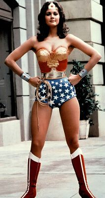 """Linda Carter as Wonder Woman adopts the """"I've just farted; what of it?"""" stance."""