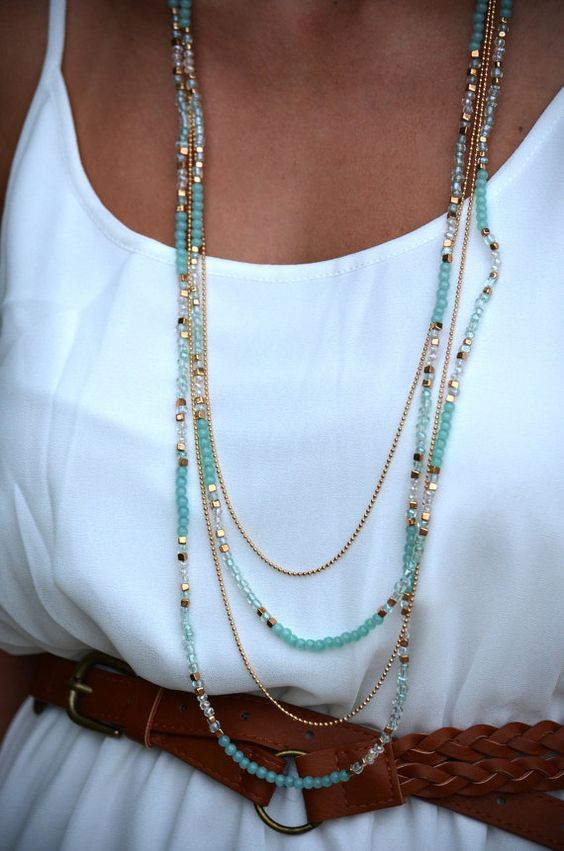 Long Layered Mint/Lavender Gold Beaded Necklace & by TexasRoots