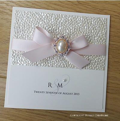 Pebble Crystal Pocket wedding invitation in Blush Pink Made with – Embossed Pocket Wedding Invitations