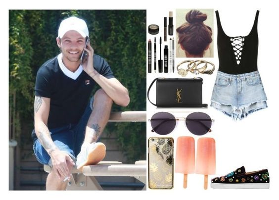 """""""Sunny day with Louis"""" by zandramalik ❤ liked on Polyvore featuring Topshop, Christian Louboutin, Vera Wang, Yves Saint Laurent, Skinnydip and Lord & Berry"""
