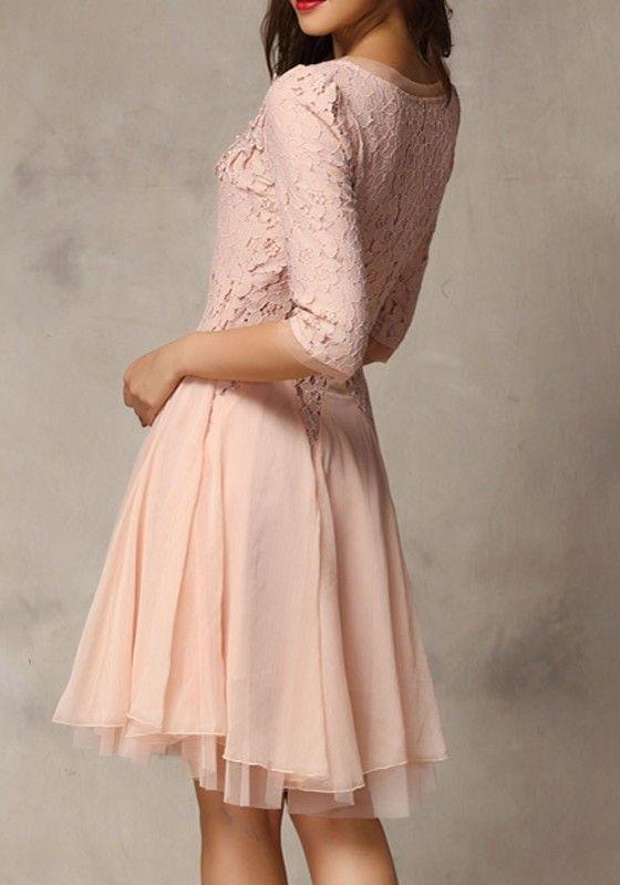 Pink Plain Seven's Sleeve Ankle Wrap Lace Dress - Dresses