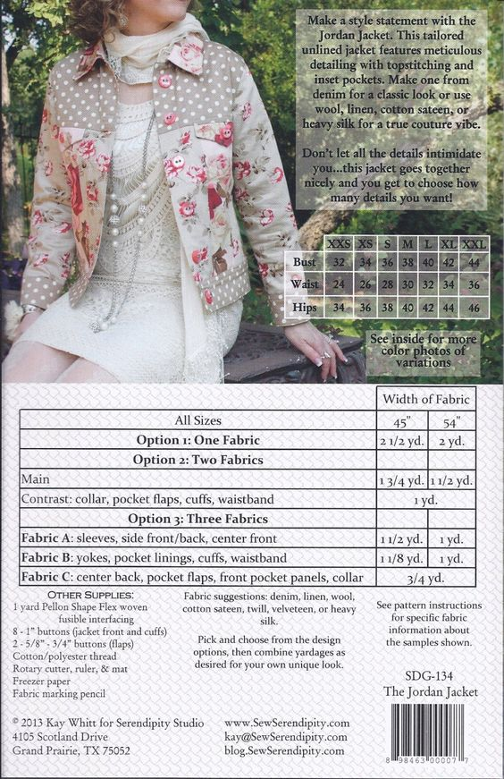 Free SHIP Jordan Jacket Pattern by Serendipity Studio XXS XXL All Included | eBay
