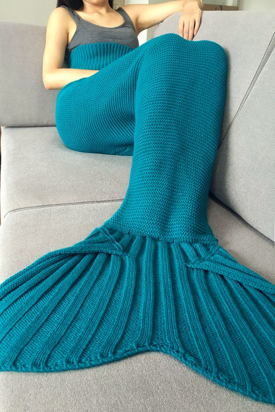 Knitting Pattern For Mermaid Tail Blanket : Stylish Solid Color Knitted Mermaid Tail Design Blankets For Adult - Turquois...
