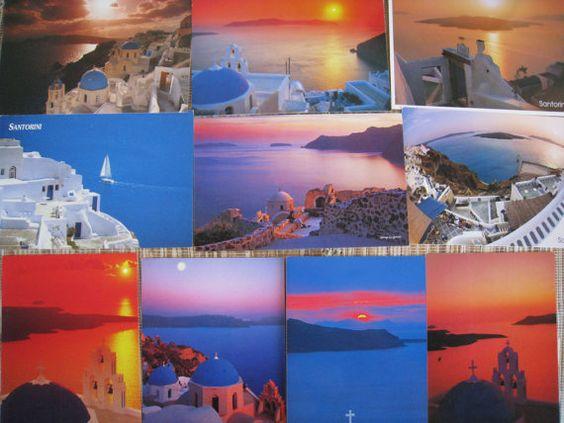10 Postcards of Santorini Greece. $10.00