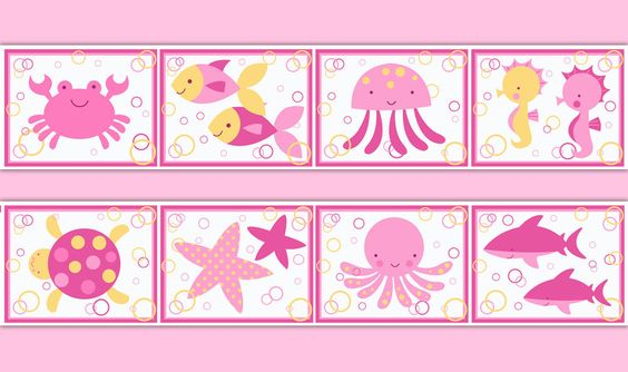 Sea Life Nursery Wallpaper Border Wall Art Decal Pink Ocean Animals Girl Sticker #decampstudios