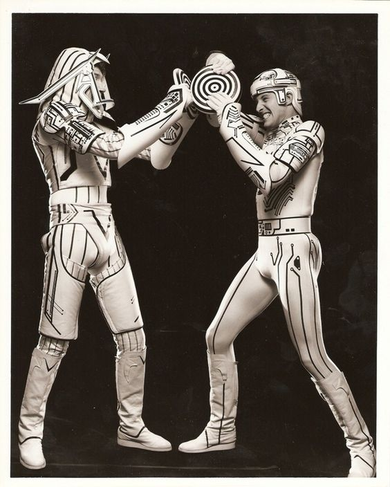 Tron. David Warner and Bruce Boxleitner between takes.