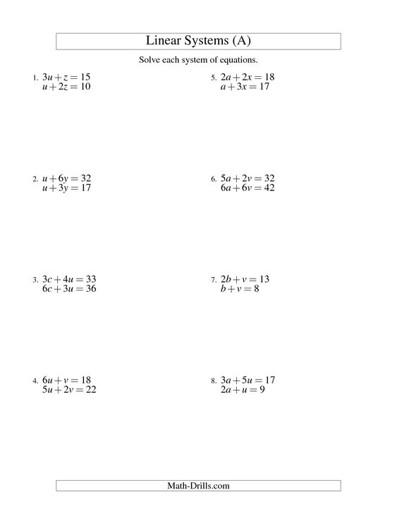 The Systems Of Linear Equations Two Variables A Math Worksheet From The Algebra Worksheet Page A Systems Of Equations Algebra Worksheets Literal Equations