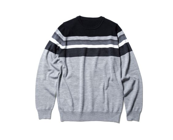 uniform experiment COLOR CHART BORDER CREW NECK KNIT