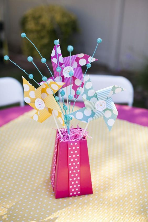 Pinwheels and polka dots st birthday party with full of