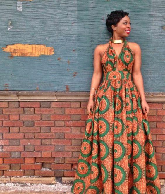Idée model africaine en pagne habit africain robe longue coloré