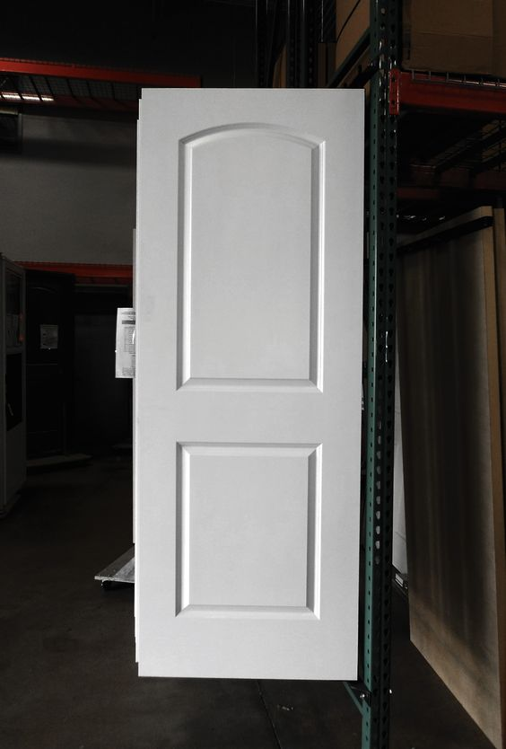 2 Panel Painted White Roman Arch Smooth Masonite Hollow