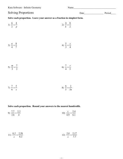 7 Solving Proportions Kuta Software Proportions Worksheet Solving Proportions Worksheet Template