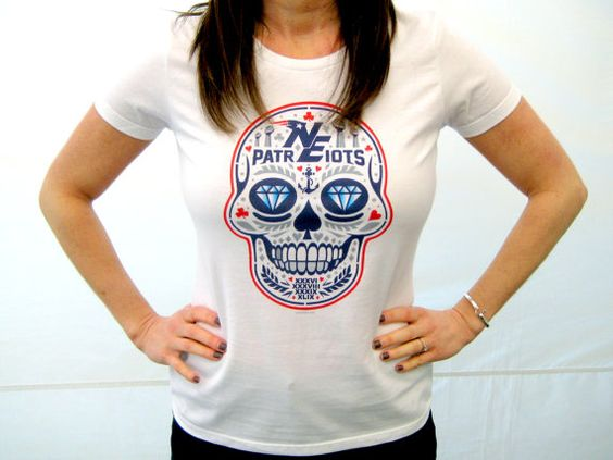 Womens New England Patriots 'Lombardi Calavera' by americanathens
