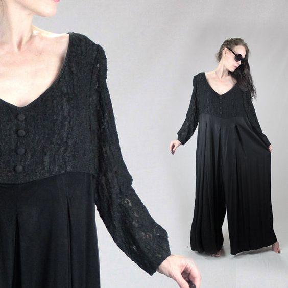 Black lace jumpsuit XXL plus size 90s jumpsuit by MadCrushVintage
