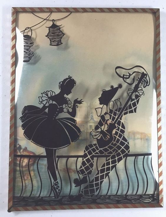 "REVERSE-PAINTED SILHOUETTE BALLERINA JESTER CLOWN - DOMED GLASS - 6"" X 8"""