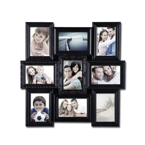Deco De Ville 9 Opening Contemporary Urban Design Style Plastic Decorative Puzzle Collage Picture Photo Frame Wall Hanging 4x6 Black Collage Picture Frames Picture Collage Picture Frame Gallery