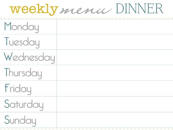 Pinterest the world s catalog of ideas for Monthly dinner menu template