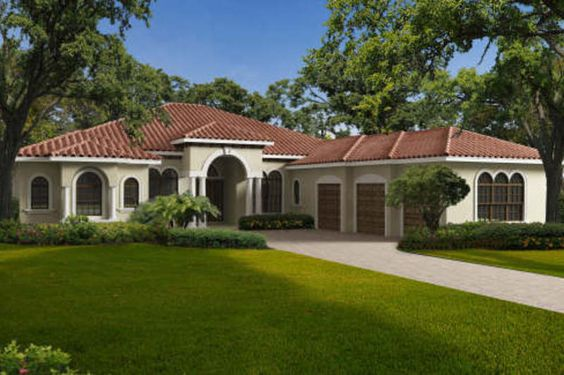 Mediterranean Style House Plan - 5 Beds 6.5 Baths 4087 Sq/Ft Plan #420-283 Exterior - Front Elevation - Houseplans.com