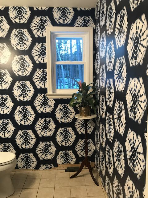 Street Flea Style Powder Bathroom Refresh Week 2 How To Use Peel Stick Wallpaper Peel And Stick Wallpaper House Colors Inspired Homes