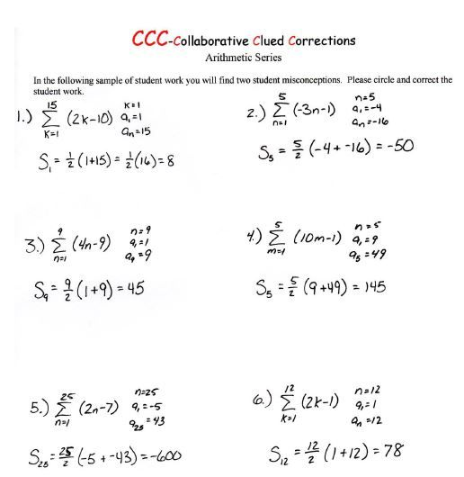 Worksheet Teaching Aids Of Arithmetic Progressions formative assessment probe coaching pairs on geometric series algebra 2 probes and teaching aids pinterest