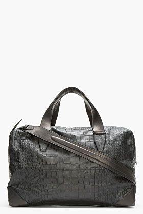 Alexander Wang Black Croc-embossed Leather Wallie Duffle Bag for men | SSENSE