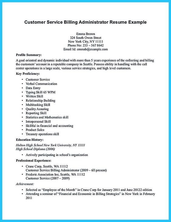nice Appealing Formula for Wonderful Business Administration - customer service billing administrator resume