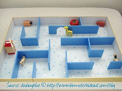 Your hamster can have an a-mazing time in this DIY maze! (via Hamster Hideout Blog)