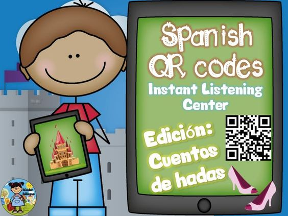 New edition!!! Create an instant listening center using QR codes linked to Spanish read alouds (through Safeshare). http://www.teacherspayteachers.com/Product/QR-codes-in-Spanish-plus-comprehension-questions-Cuentos-de-hadas-1459132