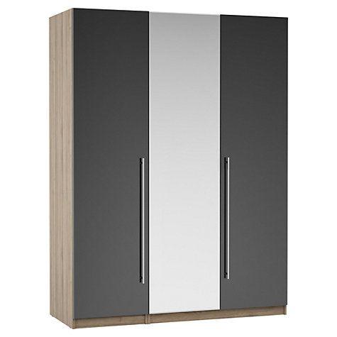 Buy John Lewis Mixit Gloss T-bar Handles Mirrored Triple Wardrobe, Grey/Grey Ash Online at johnlewis.com