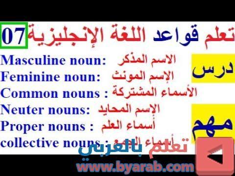 قواعد اللغة الانجليزية من الصفر كورس شامل لتعلم الانجليزية من الصفر الاسم The Noun Common Nouns Nouns Proper Nouns