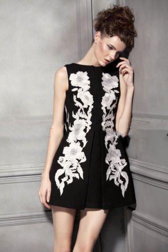 Embroided Slim Dress Blk S   eBay