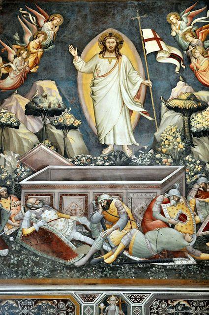 Florence Basilica of Santa Croce - Christ rises Fresco inside by mbell1975, via Flickr