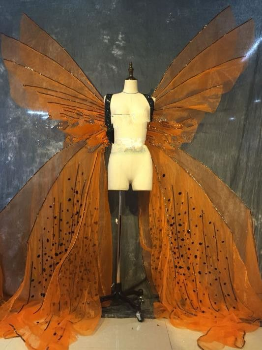 Model Feather Butterfly Dance Costumes Popular Ostrich Feathers Fancy Costume Stage Drama Costumes Angel Wings Parade Fancy Costumes Costumes Chinese Butterfly