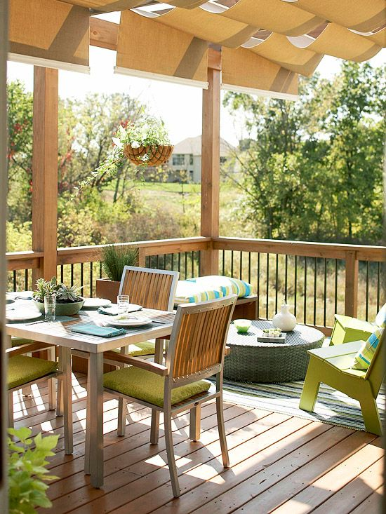 Deck Landscaping Ideas-a beautiful deck for relaxing.... my dream home would have to have one!: Patios Pergolas Decks,  Terrace, Sun Shades, Deck Ideas, Landscaping Ideas, Deck Landscaping, Outdoor Fabric, Patio Ideas, Covered Deck