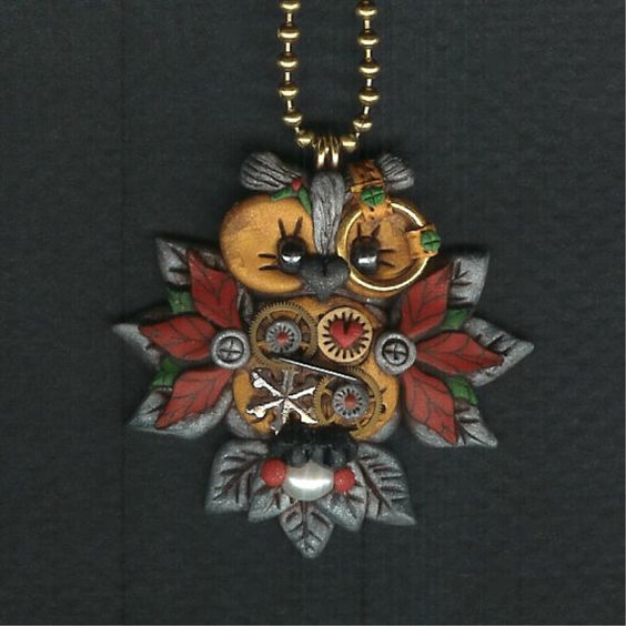 Steampunk Christmas Owl Jewelry Necklace Polymer Clay via Etsy