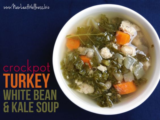 Crockpot Turkey White Bean and Kale Soup but I will use spinach
