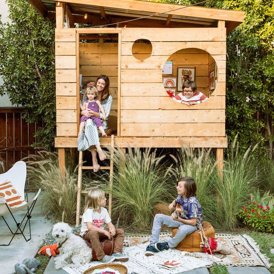 An Outdoor Play Space Is The Warm Weather Antidote To A Messy House Here S How One Southern California Family Creat Backyard For Kids Backyard Fort Kids Forts