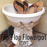 A DIY Flip-Flop Flowerpot! Great for by the door.